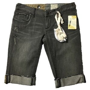 Free People Black Denim Bermuda Jean Shorts